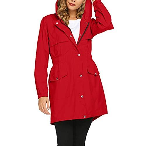 Hut Schnee Frau Kostüm Mit - Binggong Damen Lang Regenjacke Regenparka mit Vielen Taschen,Frau Leicht Atmungsaktiv Outdoorjacke Regenparka Windbreaker S-2XL