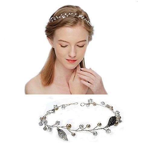 Ealicere Haarhalter für Damen und Mädchen, Braut Haarschmuck Perle Blume und Blatt Muster Hochzeit Party Haarband mit Lace Band Brautjungfer Stirnband Braut Accessoires