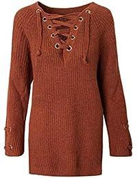 8754ab4cbf38 MON5F Home Herbst Winter V-Ausschnitt Kreuz Binden Lange Pullover Frauen  Hülse Metall Ring Stretch