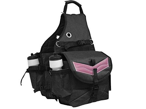 Derby Originals Tahoe Tack Nylon Multi Pocket Pferd Sattel Taschen mit Leder Overlay Schwarz