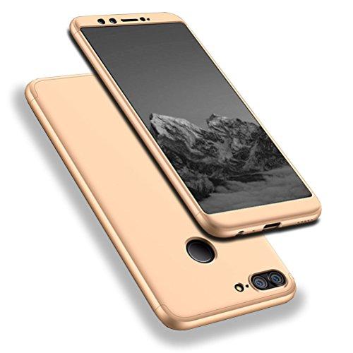 Hülle, WindCase Abdeckung Tasche Anti Fingerabdruck Stoßfest Anti-rutsch 3 in1 Harte PC Schutzhülle für Huawei Honor 9 Lite Gold + Panzerglas Schutzfolie (Bling-bling-felgen)