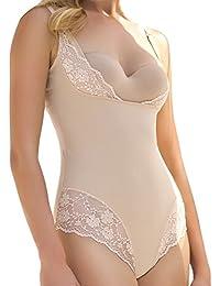 Formende Unterwäsche Damen Body Formende Bodys Taillenformer Bodysuit mit Haken Stark Formender Body Bauchweg Unterwäsche