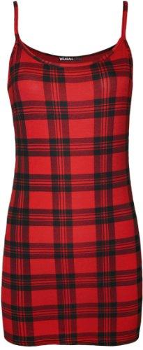 WearAll - Imprimé débardeur top - Haits - Femmes - Tailles 36 à 42 Rouge Tartan