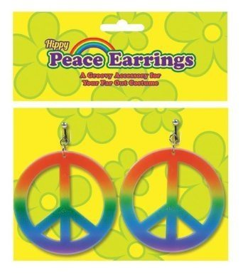 Peace Sign Rainbow Earrings 70S Hippy Hippie Chick Austin Powers Fancy Dress by Home & Leisure Online (Hippy Chick Fancy Dress)