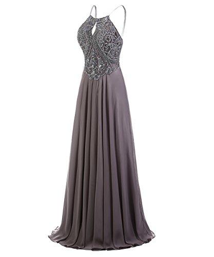 Dresstells, Robe de soirée Robe de cérémonie Robe de gala mousseline emperlée bretelles spaghetti Pourpre