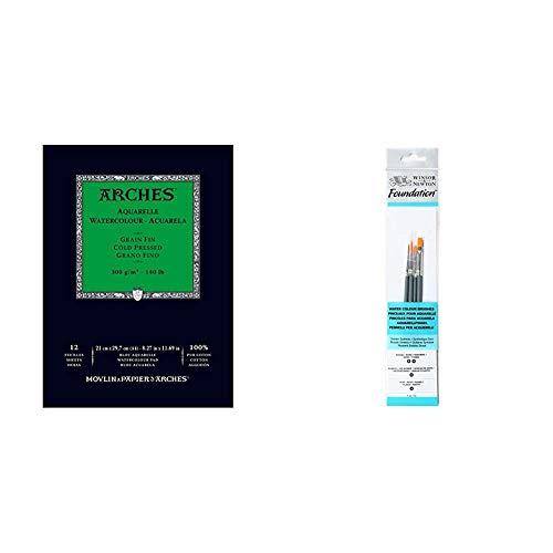 Arches Blocco per Acquerello incollato 1 Lato (12 Fogli) - Grana fina - 300 g/mq - A4 & Winsor&Newton - Foundation 4 Pennelli Acquarello - Round 3,5 - Filbert 2 - Flat 4