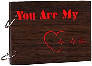 Studio Shubham Contemporary Wooden You are My Heartbeat Brown Phot Album(26cmx16cmx4cm)