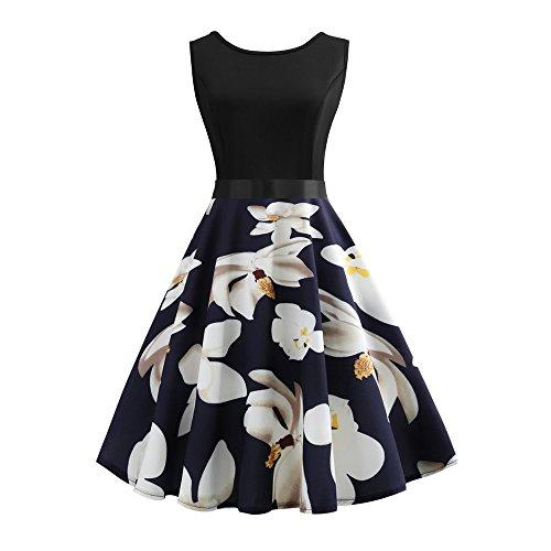 VEMOW Elegante Damen Vintage ärmellose O-Ausschnitt Floral Bedruckte Abend Party Prom Swing Kleid...