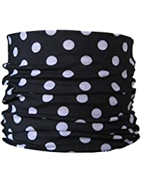 Multifunctional Headwear Polka, White Dots on Black Background