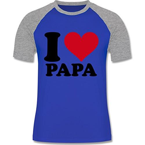 I love - I Love Papa - zweifarbiges Baseballshirt für Männer Royalblau/Grau meliert