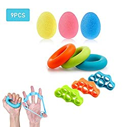 Premium Fingertrainer Klettern Ball Handtraining Handtrainer Set Hand Grip Trainer Strengthener Finger Exerciser Griffbälle Finger Stretcher Silikon zur Stärkung der Finger und Unterarme (9pcs)