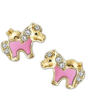 CLEVER SCHMUCK Vergoldete Mini Ohrstecker kleines Pony 8 x 5 mm teils rosa lackiert mit mehreren Zirkonias glänzend...