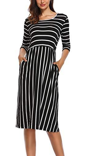 3/4 Ärmel Kleid (Anienaya Midi Kleid Damen 3/4 Ärmel T Shirt Gestreiftes Kleid Beiläufig A Linie Schwarz - XL)