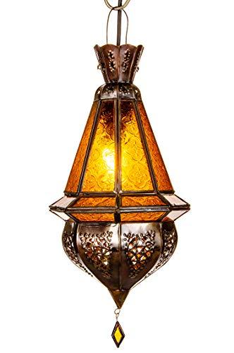 Orientalische Lampe Pendelleuchte Gelb Moulay 45cm E27 Lampenfassung | Marokkanische Design Hängeleuchte Leuchte aus Marokko | Orient Lampen für Wohnzimmer Küche oder Hängend über den Esstisch