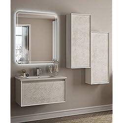 Mueble baño suspendido moderno Venus Blanco Dibujo Vintage, Tamaño 75cm, con espejo de LED, lavabo y columna