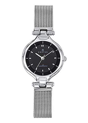 Certus–Reloj Mujer–h641m342–Pulsera Milanais Plateado–Reloj Color Negro
