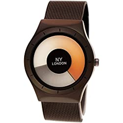 NY London Designer Ladies Mens Future Optic Black Anthracite Watch with Watch Case