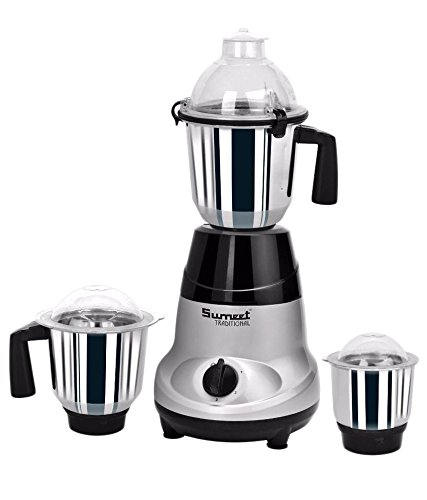 Sumeet Amica 750 W Mixer Grinder (Grey, Black, 3 Jars)  available at amazon for Rs.3269