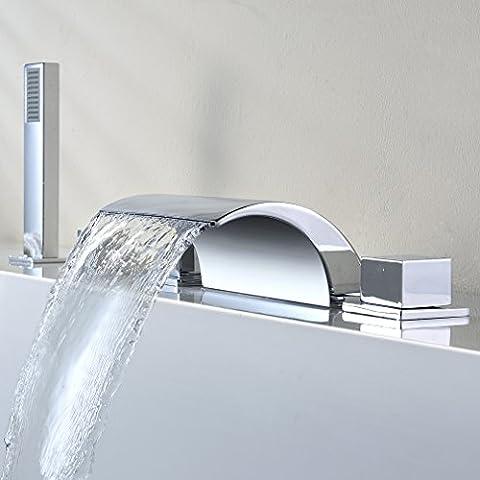 Kinse® modern Design 5 Holes Bath Filler Tap Shower System shower bath mixer with hand held shower & bath filler tap(Hot and Cold Water