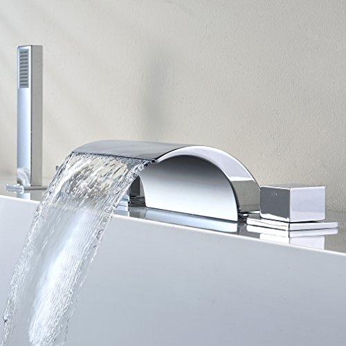 KINSE® Chrom 5 Loch-Set Einhebel Wannenrandarmatur Hochdruckarmatur Einhebelmischer Wasserfall Armatur mit Handbrause Duschsystem für Bad Badenzimmer Badewanne Waschbecken