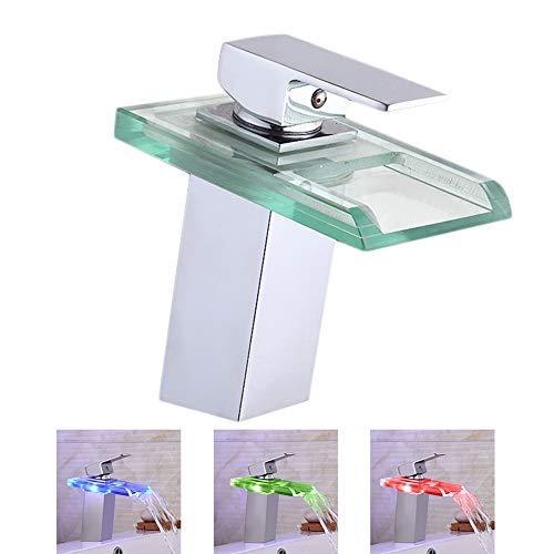 LED Wasserhahn Bad Waschbecken mit RGB 3 Farbewechsel Beleuchtung Wasserfall Auslauf Waschtischarmatur Einhandmischer aus Glas Mischer Spüle Waschtisch Einhebelmischer für Badezimmer und Küche -