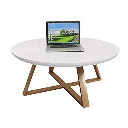 XP Teetisch, Rundes Schlafzimmer, Kleiner Couchtisch, Einfaches Wohnzimmer, Kreativer Massivholz-Beistelltisch, Kleiner Runder Kleiner Schreibtisch,Weiß,80 cm / 31.5In