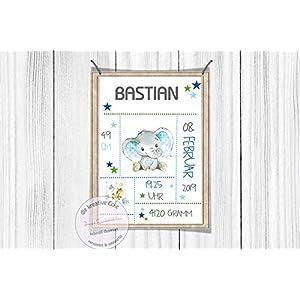 Geburtsposter Kinderzimmerposter Elefant Luftballon blau personalisiert Print Geburt Poster Geburt DIN A4