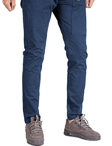 Italy Morn Herren Chino Designer Hose Casual Stoff Hose Chinohose Cargo Hose Slim Fit Marine Blau