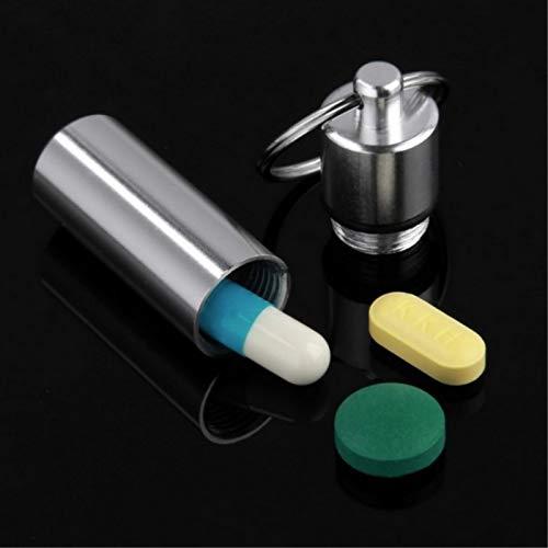 artlalic 3X Aluminium Container Keychain Wasserdichte Pille Container für Camping Metall Pill Box Fall Veranstalter mit Schlüsselbund, Outdoor Medizin Flasche Schlüsselanhänger