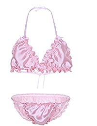 ce732003bc TiaoBug Mens 2 Piece Ruffles Frilly Shiny Top Bra Pouch Panties Nightwear  Sissy Underwear Lingerie Set