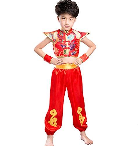 hnischen Tanzkostüme Jungen Chinesischen Stil Festliche Yangge Kleidung,Red,140 (Yangge Kostüm)