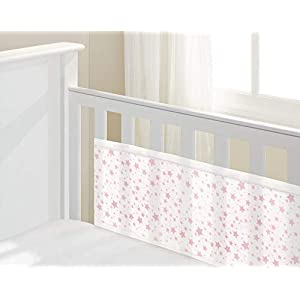 BreathableBaby Mesh Liner Twinkle Pink, 2 Sided cot