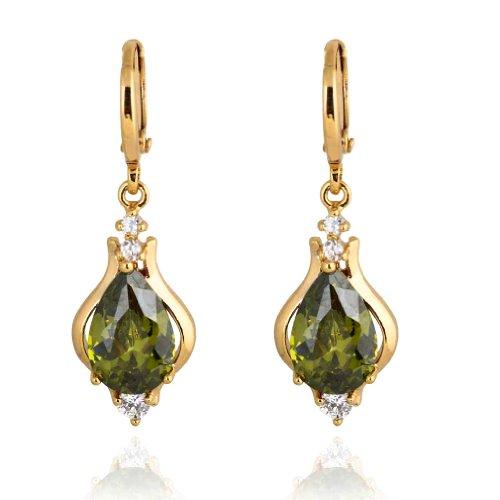 Yazilind Schmuck Elegante Einzigartiges Design 18K Gold Filled Inlay Glanzende Teardrop Grün Kristall baumeln Ohrringe für Frauen