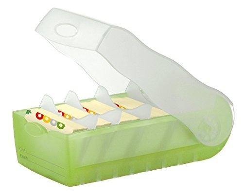 Preisvergleich Produktbild HAN CROCO 998-603 Lernkarteibox A8 quer in Transluzent-Grün – Karteikasten für regelmäßiges Vokabeln lernen dank 5-Fächer-Lernsystem – Idealer Schulbedarf