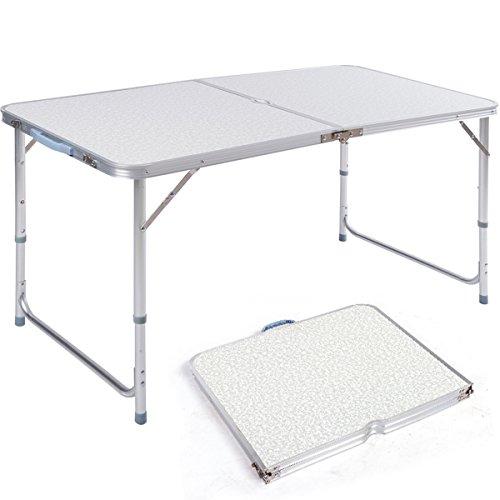 DXP Aluminum Tavolo Da Campeggio Regolabile in Altezza Pieghevole Portatile Formato Valigia 120 x 60 x 70 cm AFT-02