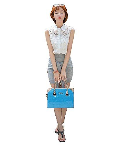 Donne Colore Puro Semplice ed Elegante Pelle Sintetica Borsa a Tracolla Borsetta Viola Azzurro