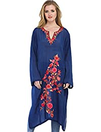 Exotic India True-Navy Kashmiri Phiran With Ari Embroidered Flowers - Blue