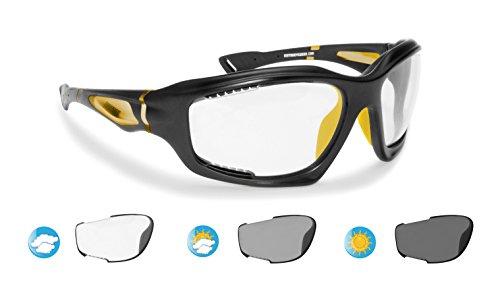 Bertoni occhiali fotocromatici sportivi antivento avvolgenti prodotti in tpx antiurto per ciclismo mtb running moto sport acquatici kitesurf - f1000c lente cat. 0-3