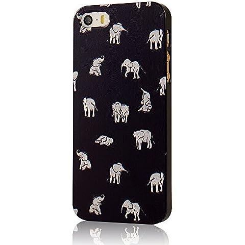 VCOER iPhone 5 / 5s Funda Protectora Decoración PC Caso Manga Tapa Protección en Un Contenedor de los Elefantes Patrón de diseño- Azul