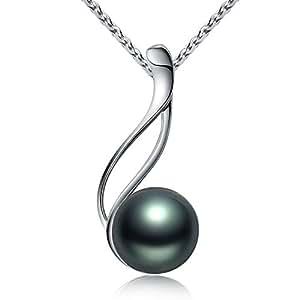 Perle de Tahiti Collier avec Pendentif Femme de Perle Noire de classe AAA et Argent Fin 925 Vente Seule Les Plus Beaux Bijoux Fantaisies de Cadeau Noel Femme par VIKI LYNN