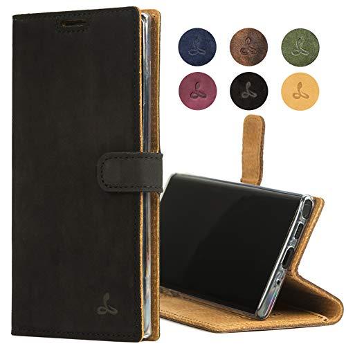 Snakehive Note 10 Plus Schutzhülle/Klapphülle echt Lederhülle mit Standfunktion, Handmade in Europa für Note 10+ - (Schwarz)