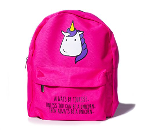 Bubblegum Cases MINI UNICORN BACKPACK for Women For Girls, Hot Pink School College Casual Canvas Lightweight Bag with matching pencil case set, Urban Kawaii Cute Animal Quotes (Be a UNICORN)