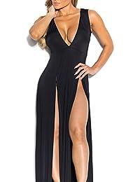 e8c7878e018b0 Hippolo donne profondo scollo a V sexy spacco laterale benda gonna abito da  sera party Dress