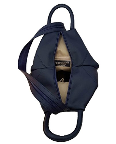 Zaino donna in vera pelle sauvage made in italy BC321 Blu scuro
