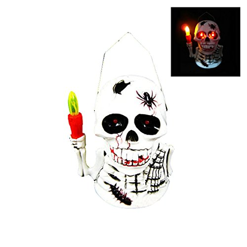 Halloween Schädel Tragbar Lampen Geräuschen Schädel-Leuchte LED Beleuchteter Totenkopf Kostüm Creepy Partei Prop Laterne portable Nachtlicht dekor beängstigende gruselige Festivalparty Dekoration Geist schreien Kerze bewegliche spooky lustige Halloween Masquerade (Kostüm Schrecklichen Terror)