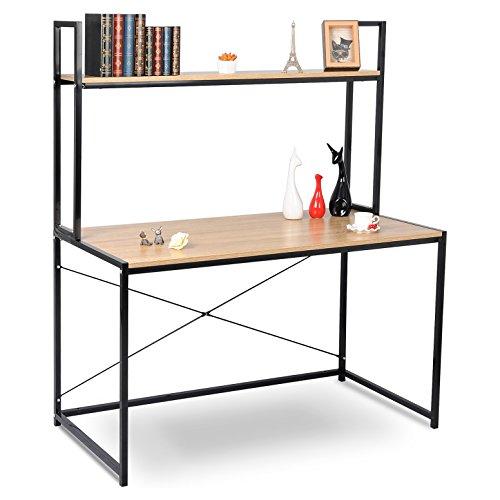 WOLTU TSB02hei Schreibtisch Computertisch Büromöbel PC Tisch Bürotisch Arbeitstisch aus Holz und Stahl, ca.120x60x140 cm