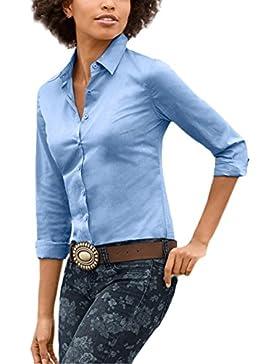 Saoye Fashion Camisas Mujer Manga Larga Elegantes Oficina Negocios Ejecutiva Tops Blusa De Solapa Con Botones...