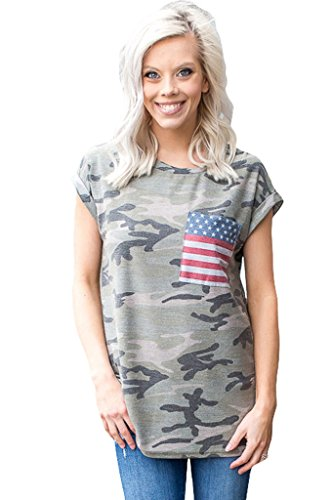 Camo Amerikanische Flagge (Fortuning's JDS® Frauen Amerikanische Flagge Taschen Grau Camo Kurzarm T-Shirt Tops)