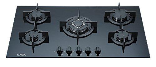 SAGA Elegans X951-B Plaques de cuisson en Verre trempé avec 5 brûleurs à gaz Noir 90 cm