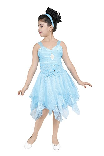 YAYAVAR Girls Net Made Sky Blue Colored Casual/Party Wear Frocks for Girls...
